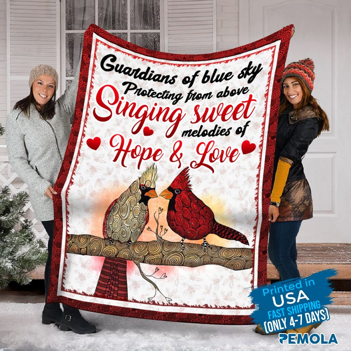 Pemola- Couple Cardinal Blanket, Red Bird Fleece Blanket, Best Saying Blanket, Quotes Cardinal Blanket