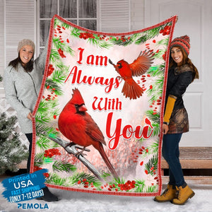 Pemola - I am always with you Fleece Blankets, quotes cardinal blanket, saying red bird blanket