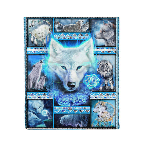 Pemola, Wolf Native Fleece Blankets, White Wolf 3D Blanket, Grey Wolf Blanket,