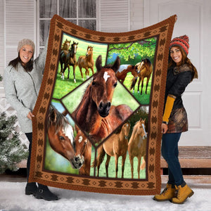 Pemola - Horse baby Fleece Blanket, Horse breeds blanket for horse trainer.
