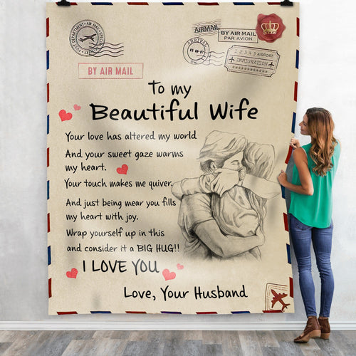 Pemola To My Beautiful Wife Blanket, To Wife Postal Mail Cozy Fleece Blankets, Gift For Women