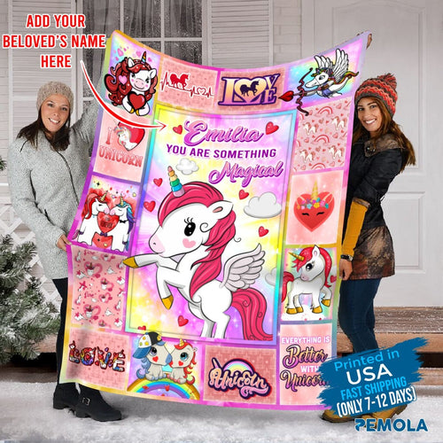 Pemola, Unicorn Custom Blankets, Unicorn Personalized Blankets, Personalized Baby Blankets With Name, Fleece Blankets