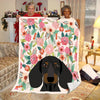 Pemola - Dachshund Dog & Flowers Blanket, Cute Dachsund, Dachshund Graphic Blanket, Fleece Blanket