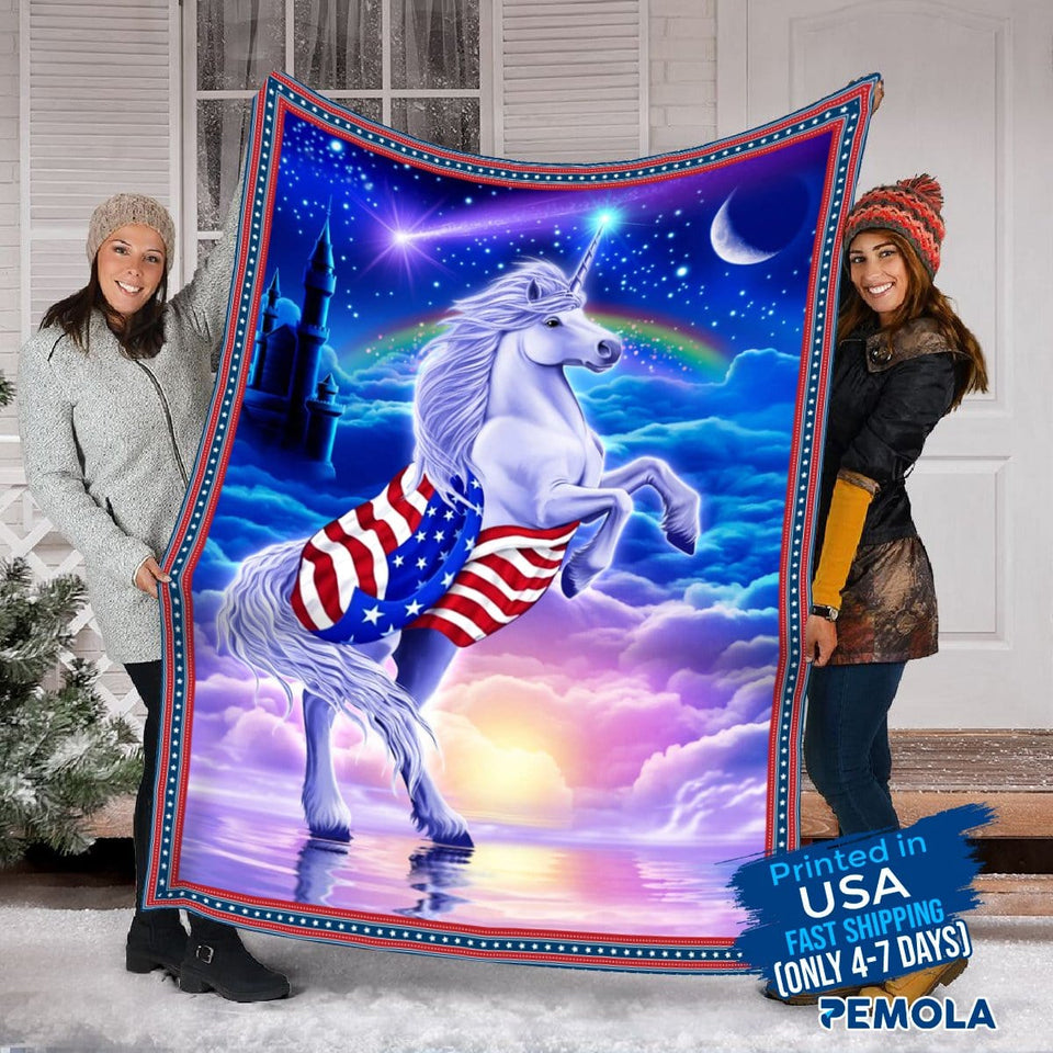 Pemola - Unicorn Blanket, Unicorn Birthday Gifts, Picture Blanket,  Unicorn Gift for beloved, Fleece Blankets