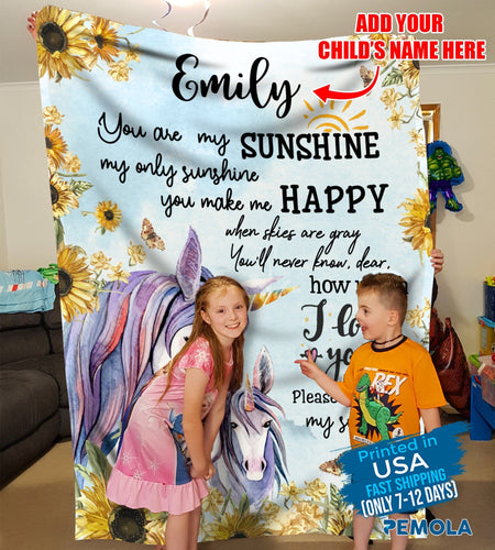 Pemola, You are my sunshine blankets, gifts for daughter, unicorn custom blankets, unicorn personalized blankets