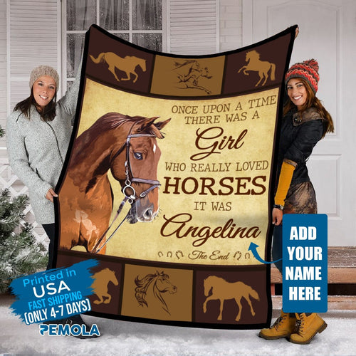 Pemola - Horse quotes Fleece Blanket, Horse saying blanket, Horse girls custom name blanket.