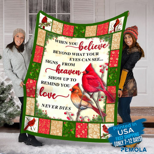 Pemola - Quotes Cardinal Blanket, Saying Red Bird Cardinal Blanket, Red Bird Fleece Blanket