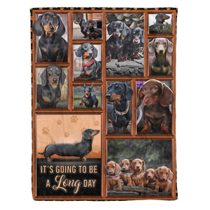 Pemola - Dachshund Dogs A Long Day Fleece Blanket