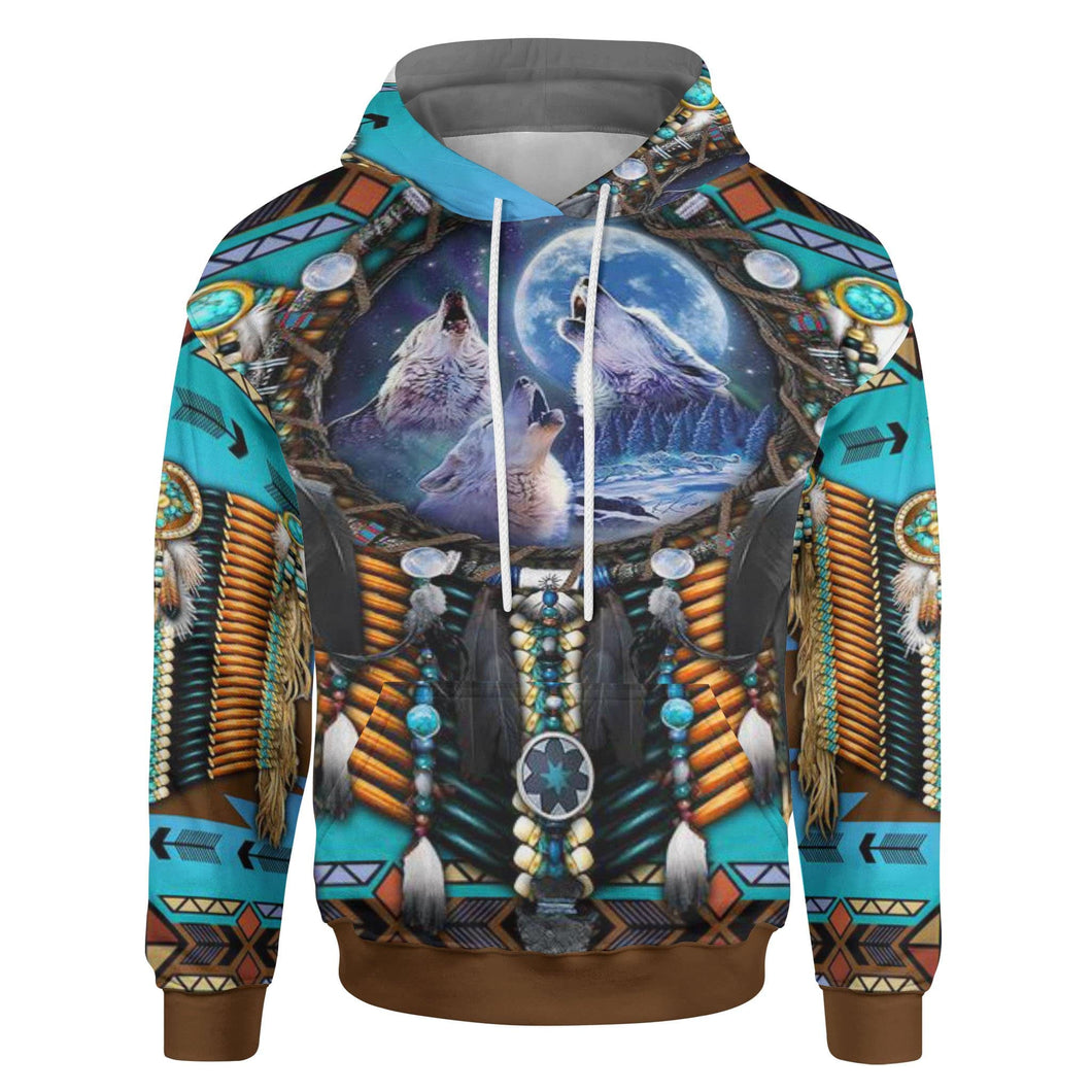 Pemola Native American Hoodies, Wolf All over hoodie, Grey Wolf Hoodies