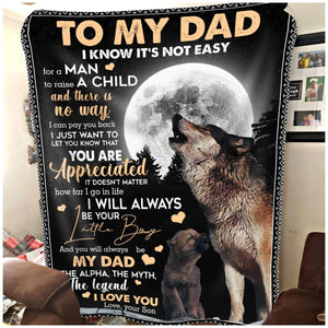 Pemola, Little boy Fleece Blankets, Son and dad blanket, Little son blanket, gifts for kids, gift doe son, wolf gifts, wolf blanket