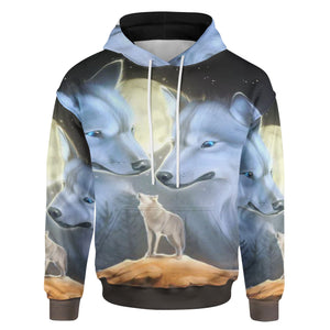 Pemola Wolf All over hoodie, Native American Hoodies, 3D Wolf Hoodies