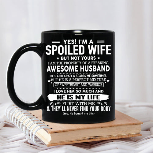 Pemola Spoiled Wife Mug, Funny Quote Mug For Wife, Gifts For Her