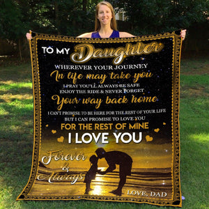 Pemola, Love Dad Fleece Blankets, Daughter Blanket, Dad blanket, Father daughter blanket,