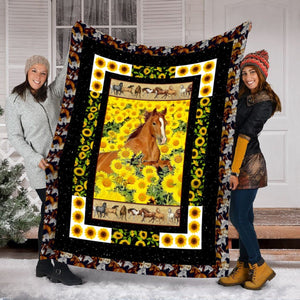 Pemola - Horse Baby Sunflower Fleece Blanket, baby horse blanket for horse lover.