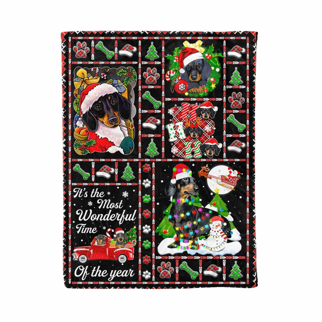 Pemola - Best Gift For Holiday Dog Blanket, Dachshund Happy Christmas Fleece Blanket