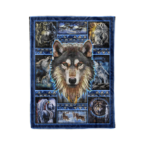 Pemola, Wolf Native Fleece Blankets, Wolf 3D Blanket, Grey Wolf Blanket, Native American blanket.