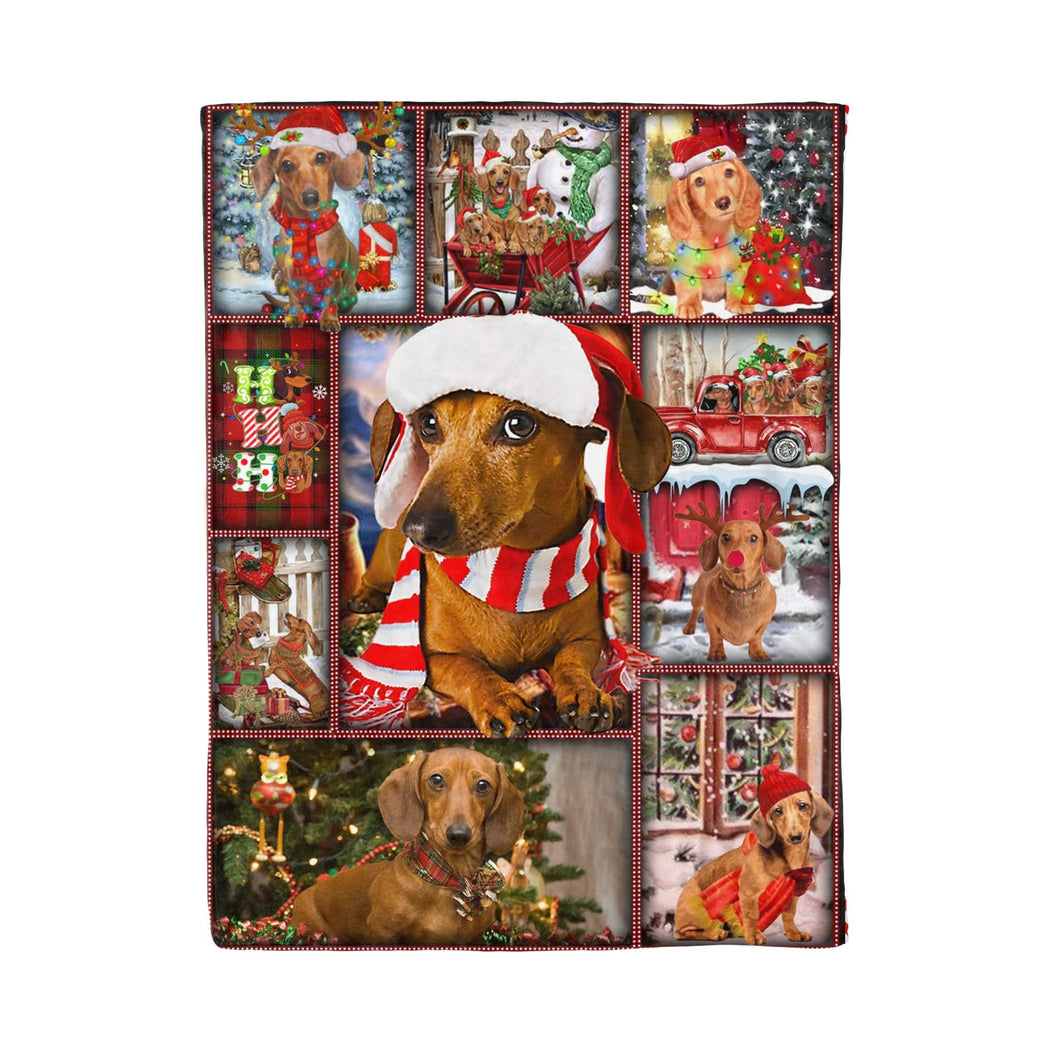 Pemola - Dachshund Brown Happy Christmas Fleece Blanket, Dog Blanket Gift