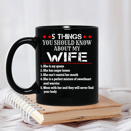 Pemola 5 Things About My Wife Mug, Funny Mug For Wife, Gifts For Her