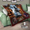 Native Wolf Fleece Blankets, Native American Blanket, Wolf Blanket