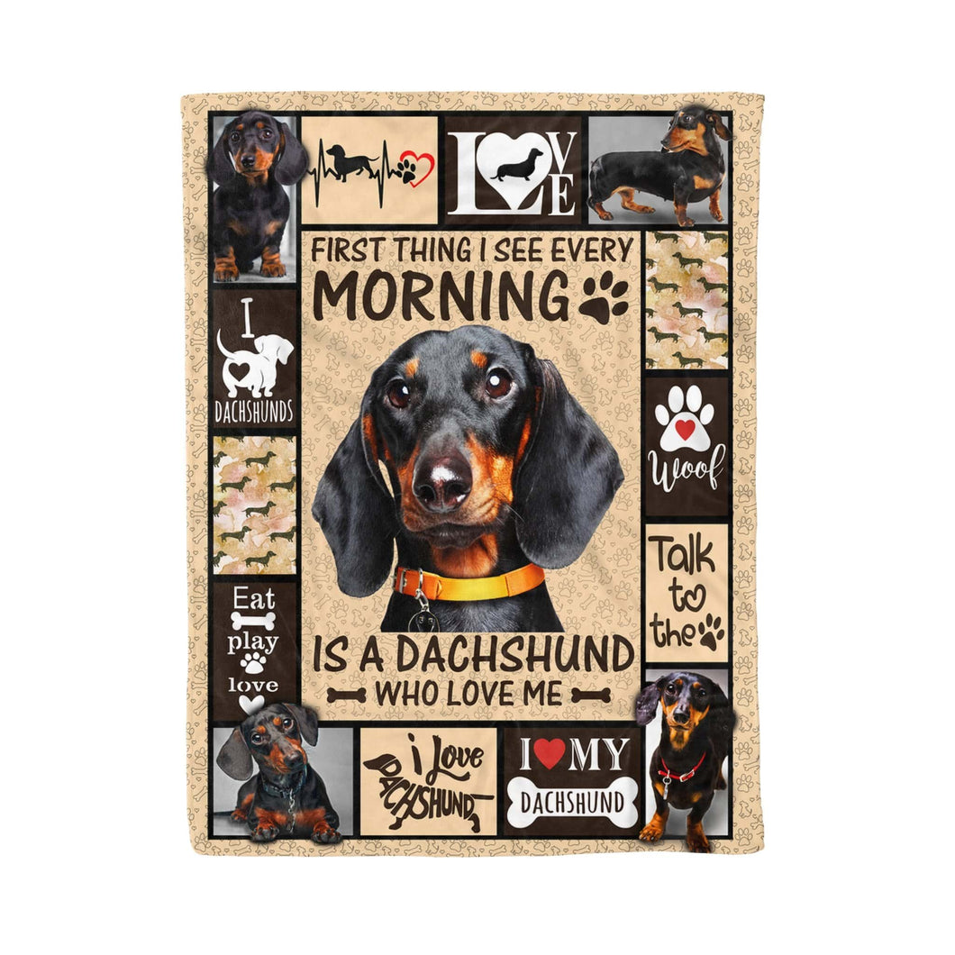 Pemola - Dachshund Quotes and Sayings Blanket, Dog Lover Gift, Dachshund Funny Fleece Blanket
