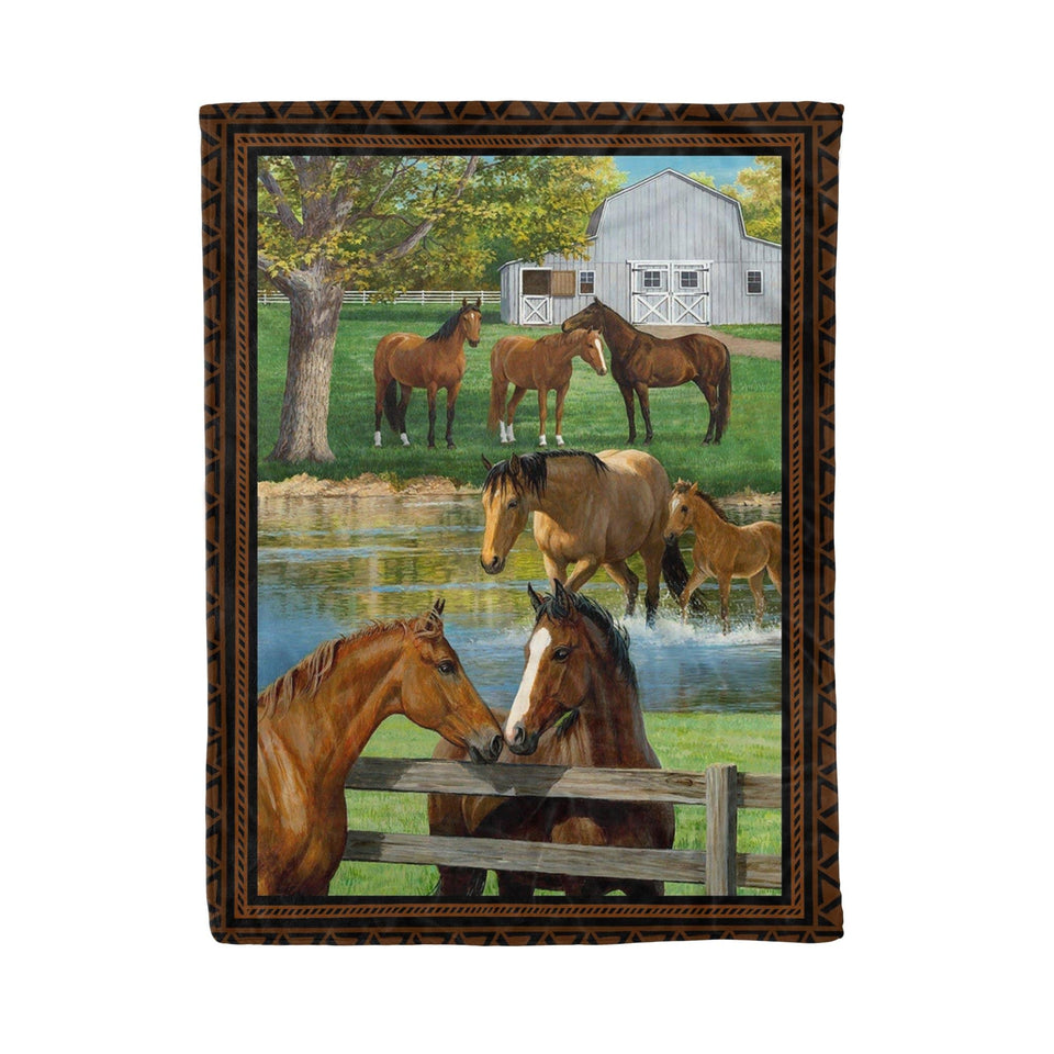Pemola - Horse art Fleece Blanket, horse breeds art blanket gift for dad