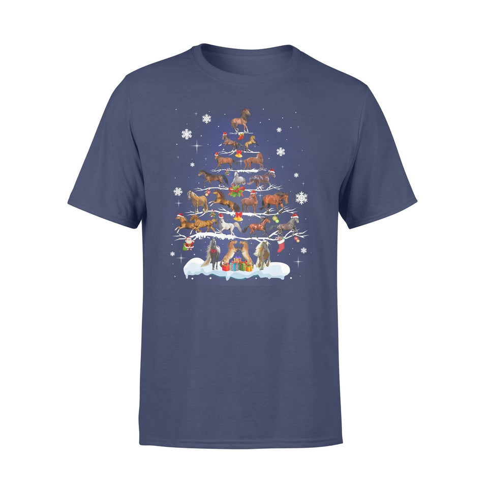 Pemola - Horse Christmas Tree T-shirt, graphic tees, funny t shirts, cool t shirt