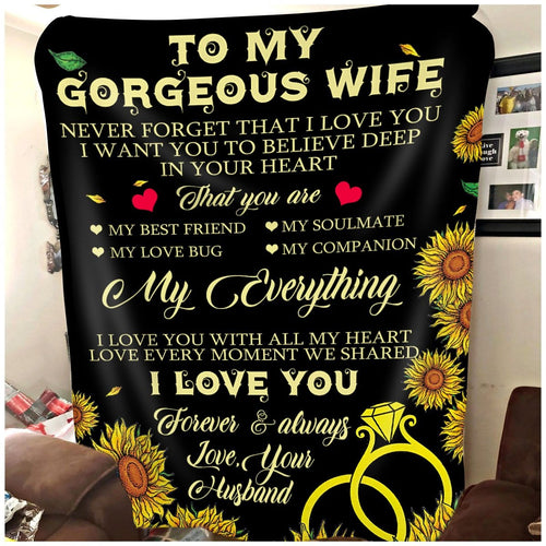 Pemola To My  Gorgeous Wife Fleece Blankets, Wife Blankets, Gifts for Wife