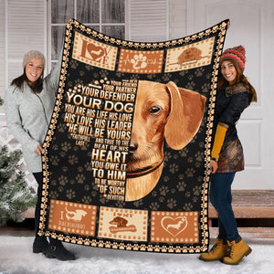 Pemola - Quotes Dachshund Blanket, Gift Blanket Christmas, Dachshund Lover Gift, Dog Fleece Blanket