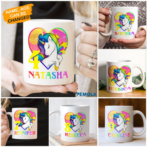 Pemola, personalized gifts, unicorn birthday party, unicorn gifts, unicorn gifts for girls, gifts for daughter, white mug