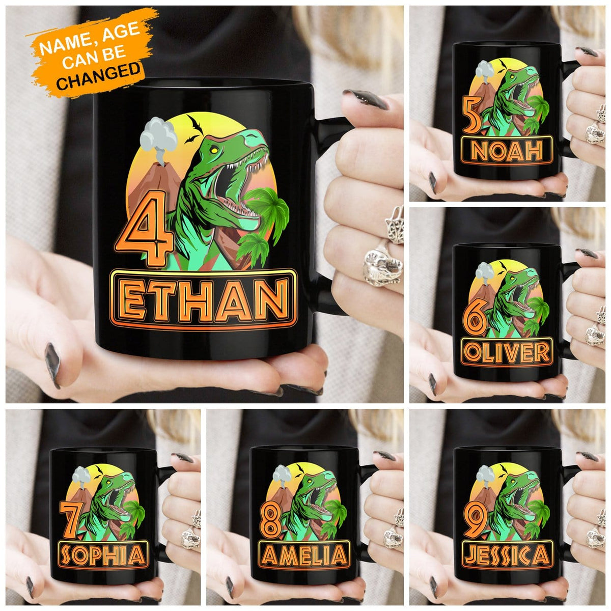 Pemola, dinosaurs for kids, personalized gifts, kids birthday party, gifts for sons from mothers, black coffee mug