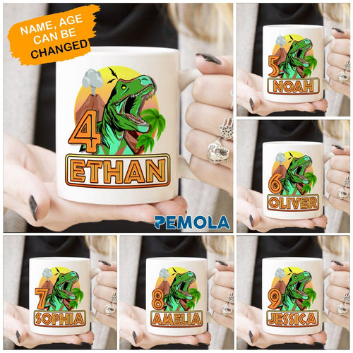 Pemola, dinosaur gifts, personalized gifts, birthday ideas for kids, tyrannosaurus, cool gifts for kids, white mug