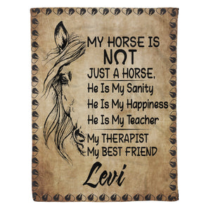 Pemola - Horse quotes love Fleece Blanket, Horse customized name blanket for horse trainner.