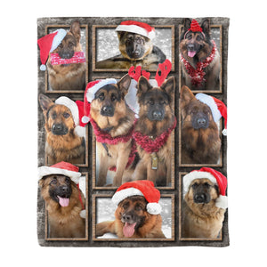 Pemola - German Shepherd Dog Blankets, Christmas Fleece Blanket
