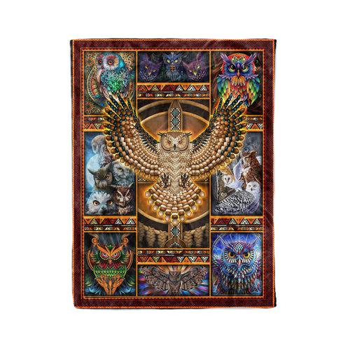 Pemola Native American Fleece Blankets, Owl Blanket, Birthday gifts, Owl native American.