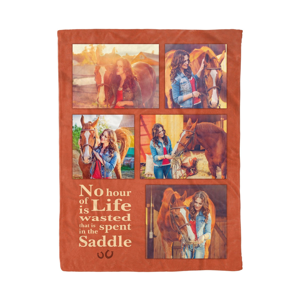 Pemola - No hour of life wasted that is spent on the saddle, Horse quotes Fleece Blanket, Horse custom photo blanket.