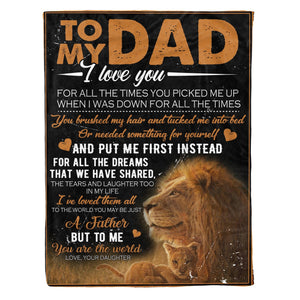 Pemola, Dad and Daughter Fleece Blankets, gifts for dad, Lion Dad blanket, Daddy blanket, birthday gifts for dad, happy Father's day