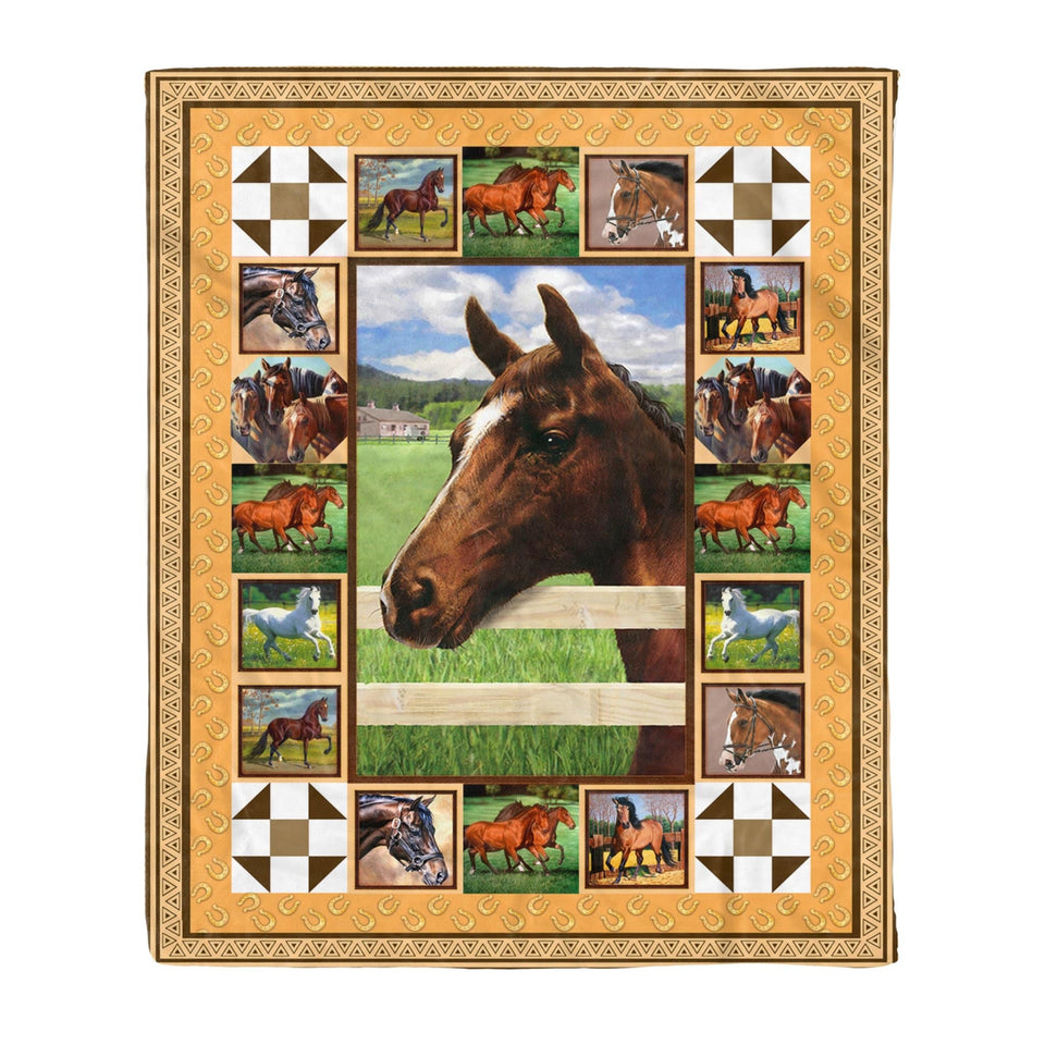 Pemola - Beautiful Horses Fleece Blanket, Horse art blanket for your family, gifts for retirement