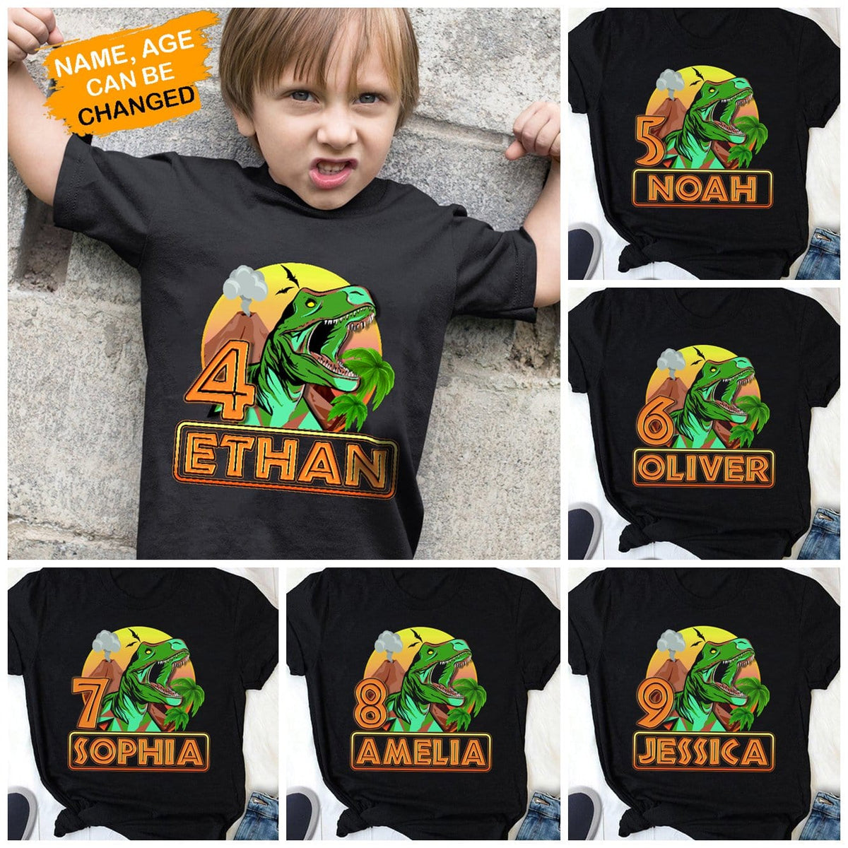 Pemola, personalized birthday gifts, dinosaur birthday shirt, custom t shirts, gifts for kids, t rex shirt