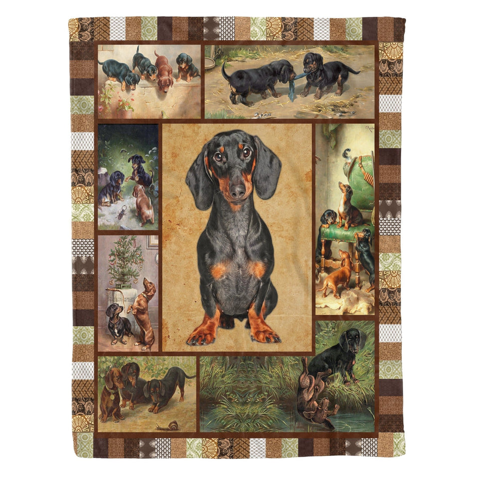 Pemola - Gifts For Dog Owners, Dog Breeds Blanket, Black Dachshund Dog Fleece Blanket
