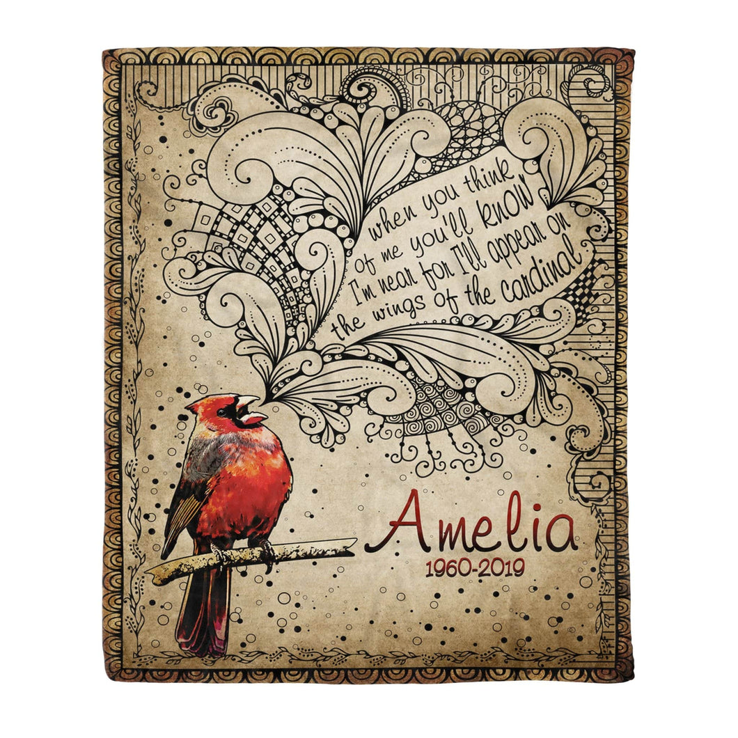 Pemola, cardinal bird blanket, personalized name blankets, custom blankets, personalized blankets, fleece blankets