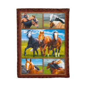 Pemola - Horse beautiful love Fleece Blanket, horse riding blanket for horse trainer.
