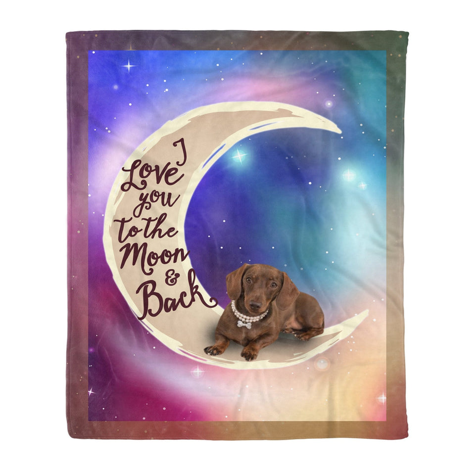Pemola - Dachshund dog chocolate & tan, picnic blanket, baby blanket size Fleece Blanket