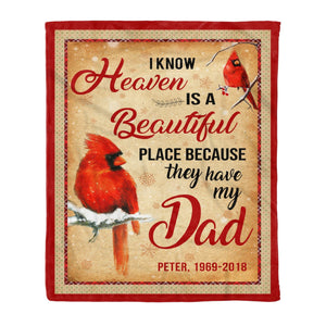 Pemola, cardinal bird blanket, custom blankets, personalized name blankets, fleece blankets, dad blanket, personalized gifts