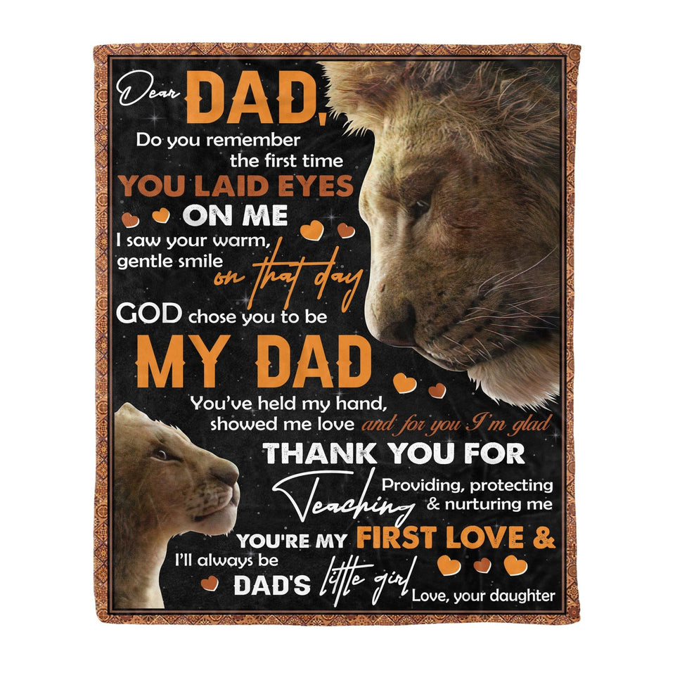 Pemola, Lion Fleece Blankets, Quotes Blanket, birthday gifts for dad, Happy father's day, gift blanket, Dad and Daughter Blanket