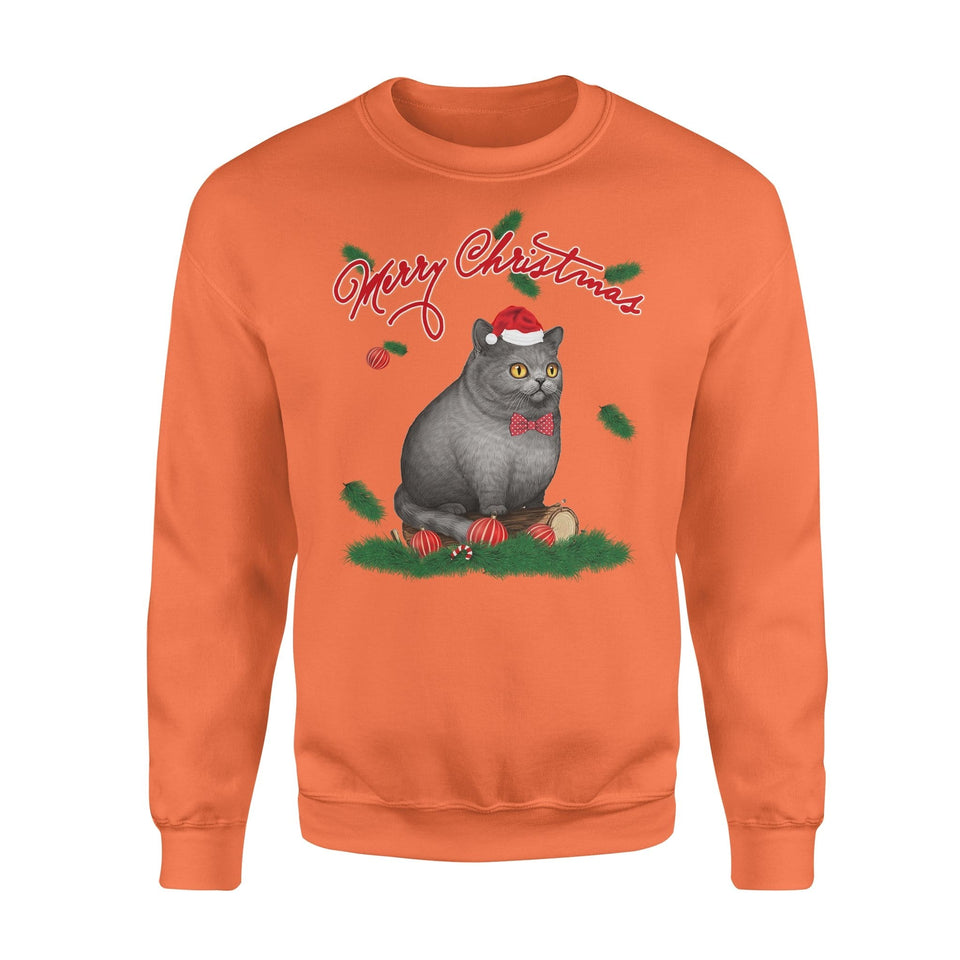 Pemola, British Shorthair Cat Christmas Sweatshirts, Sweatshirt