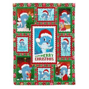 Pemola - Dolphin christmas Fleece Blanket, christmas blanket, animal blankets, blanket gift