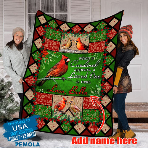 Pemola, Custom Cardinal Name Blanket, cardinal blanket, custom blankets, personalized name blankets, fleece blankets
