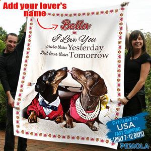 Pemola - Dachshund Dog, Valentine Blanket, Gift for Your Love, Gift For Your Loved Ones, Custom Name Fleece Blanket