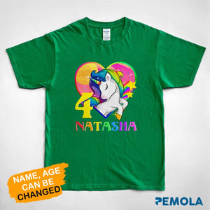 Pemola, personalized birthday gifts, kid unicorn birthday shirt, gifts for kids, unicorn t shirt, shirts for boys, shirts for girls
