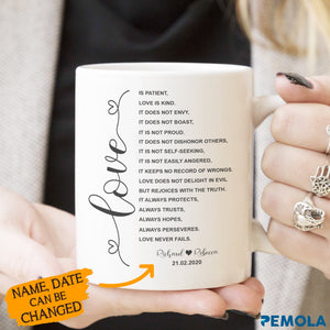 Pemola, custom mugs, 1 corinthians 13:4-8, personalised mugs, coffee mug, bible verse mugs, anniversary gifts